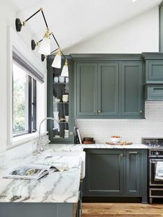 Fresh Kitchen Cabinet Colors: Pewter Green from Sherwin-Williams kitchen cabinets colors The 14 Freshest Kitchen Cabinet Colors Farmhouse Kitchen Cabinets, Painted Kitchen Cabinets Colors, Fresh Kitchen, Kitchen Colors, Green Kitchen Cabinets, Home Kitchens, Diy Kitchen Cabinets, Kitchen Cabinet Colors, Kitchen Design