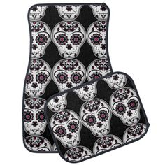 Day of the dead sugar skulls pattern car mat #PinkAndBlackObsession
