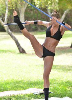 FIERCE!  36 yr old Jennifer Nicole Lee, Fitness Model, practicing martial arts