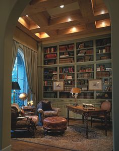 Home Office french country Design Ideas, Pictures, Remodel and Decor  Home office study, fabulous built in book shelves, foam green antique colour, beautiful desk and windows.  Gorgeous
