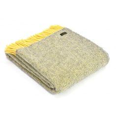 Tweedmill Pure New Wool Herringbone Throw Blanket Silver Grey & Lemon