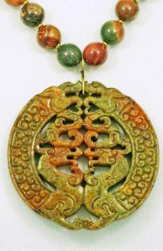 Jade Dragon Amulet & Red Creek Jasper by SilkRoadJewelry on Etsy, $109.50