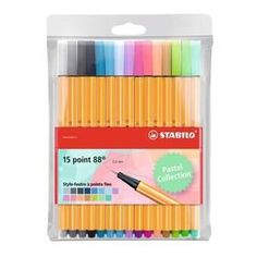 STABILO Pochette x 15 stylos-feutres point 88 - Coloris pastel - Achat / Vente stylo - parure Poch 15 STA point 88 - Cdiscount Stationary Store, Stationary Supplies, Stationary School, Stationery Pens, Office Stationery, Bic Kids, Diy Bedroom Decor For Teens, Stationary Organization, College Organization