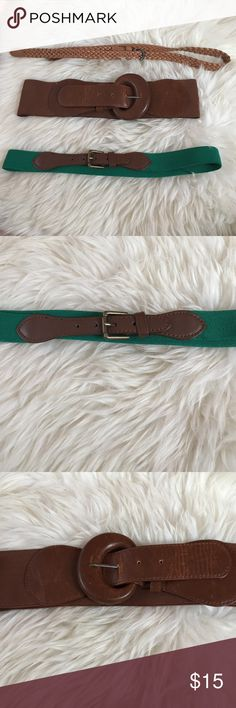 Bundle! 3 Urban Outfitters Belts Bundle! 3 belts from urban outfitters, each originally around $15-20 each! The top one is skinny and is a nice braided leather. The middle one thick, and is brown elastic with a leather buckle. The third one is skinny, jean, and also elastic. Urban Outfitters Accessories Belts