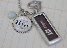 """""""Choose Joy"""" hand-made charm necklace by Jennifer Dahl. Beautiful, personalised gift that tells-your-story. mangoink.com.au"""