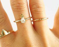 Princess Aurora Crown Ring & Diamond Pineapple ring