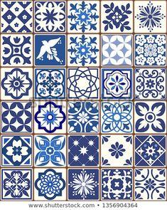 Blue Portuguese tiles pattern - Azulejos vector, fashion interior design tiles Pottery Painting Designs, Pottery Designs, Tile Patterns, Textures Patterns, Blue Pottery, Ceramic Pottery, Ceramic Art, Portuguese Tiles, Oriental Pattern
