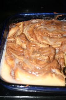 Cinnamon Roll Cake = melt in your mouth! It is so good!