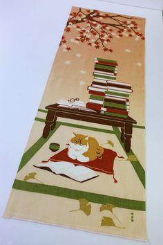 Japanese fabric Tenugui Maneki-neko Fortune Cats, cat and books noren curtain, kawaii fabric, cat fabric, japanese tenugui cat home decor,
