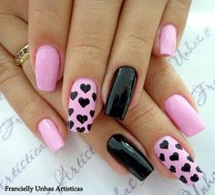New Nails Design Black Pedicures Ideas Black Nail Designs, Pink Nail Designs, Acrylic Nail Designs, Acrylic Nails, Nails Design, Nail Manicure, Gel Nails, Finger, Crazy Nails