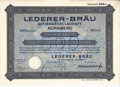 Lederer-Bräu AG, 500 RM Nürnberg 1930