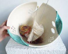 Yarn bowl JUMBO Extra Large Knitting Ceramic Yarn Holder Crochet Organizer White with green twisted leaves MADE to ORDER