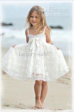 b24f14d4fe5 Wholesale Hot Sale 2013 A Line Spaghetti Straps White Beaded Lace Knee  Length Flower Girl Dresses