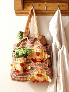 Chicken Market Bag | Yarn | Free Knitting Patterns | Crochet Patterns
