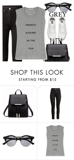 """""""Grey Black"""" by thais-santana-1 ❤ liked on Polyvore featuring H&M, Retrò, Rebecca Minkoff and Vans"""