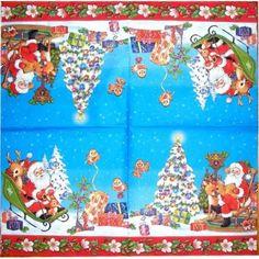 Nº 02- Servilleta decorada de navidad Papa noel y arbol navidad