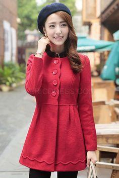 Fashin Round Neck Woolen Coat Coats