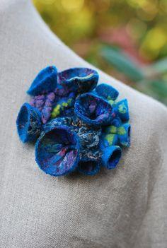 Gorgeous shibori fiber art felt brooch blue by sassafrasdesignl