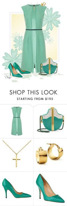 """""""DVF Patchouli"""" by diane-hansen ❤ liked on Polyvore featuring Edeline Lee, Diane Von Furstenberg, Blue Nile, Kate Spade, gold jewelry, art deco, snake print shoes, silk dress and box clutch"""