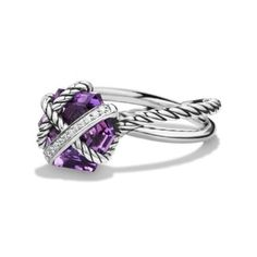 Pre-owned David Yurman Sterling Silver Petite Amethyst 0.05ct Diamonds... ($315) ❤ liked on Polyvore featuring jewelry, rings, amethyst rings, wrap rings, pre owned diamond rings, amethyst jewelry and sterling silver diamond rings