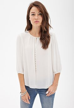 Sheer Keyhole Peasant Top | LOVE21 - 2000122498
