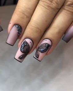 Choose from an Amazing Array of Nail Art Design Toe Nail Art, Acrylic Nails, Fun Nails, Pretty Nails, Glitter Nails, Grey Nail Designs, City Nails, Butterfly Nail, Nail Art Rhinestones