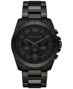 0593774a21d8 Michael Kors Men s Chronograph Brecken Black Ion-Plated Stainless Steel  Bracelet Watch 44mm MK8482   Reviews - Watches - Jewelry   Watches - Macy s