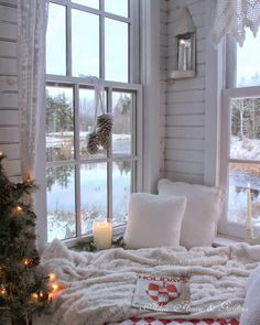 A cozy winter reading nook.