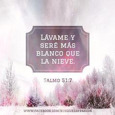Salmos 51:7 Purifícame con hisopo, y seré limpio; Lávame, y seré más blanco que la nieve.♔