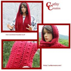 Red #Crocheted #Hooded #Scarf | @CathyCreates - #Handmade knit and crochet accessories and apparel