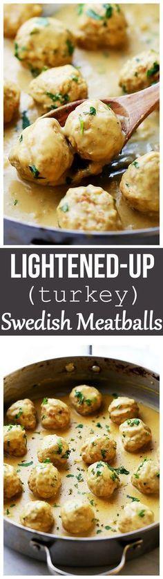 Lightened-Up Turkey Swedish Meatballs Recipe-Homemade turkey meatballs smothered ina light, yet very delicious gravy sauce.