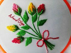 Rose Bud Bouquet Embroidery | Bouquet de Botones de Rosa | Hand Embroidery Tutorial by Artesd'Olga - YouTube