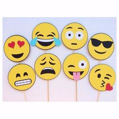 Emoji Photo Booth Props Smiley Face by LetsGetDecorative on Etsy Party Emoji, Photos Booth, Photo Booth Props, Smileys, Emoji Photo Booth, Diy And Crafts, Crafts For Kids, Smiley Faces, Party Props