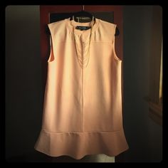 The Fifth, M- shirt dress Fits loosely, worn once. Peach, light blush color. Looks great with ankle booties. Purchased on Piperlime. 95% polyester. Great condition. Goes down to mid-thigh. Piperlime Dresses Midi