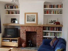 do i strip the plaster off the chimney breast? Home Living Room, House, Family Room, House Inspiration, New Homes, Home Decor, Fireplace Bookcase, Interior Design, Fireplace