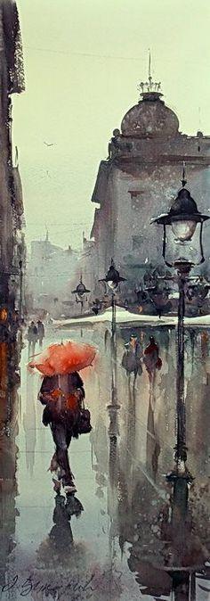 Dusan Djukaric Belgrade lamps, watercolor, 70x26 cm