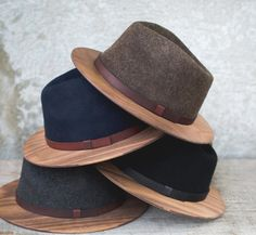 Wood Fedoras On Fleece $195 (2015) °°
