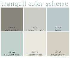 Full home color scheme - calming colors are so popular right now in home decor. Benjamin Moore has some great paint colors that are calming and neutral. #decor #paint #home   http://coffeeandpine.blogspot.ca/2015/04/tranquil-color-scheme.html