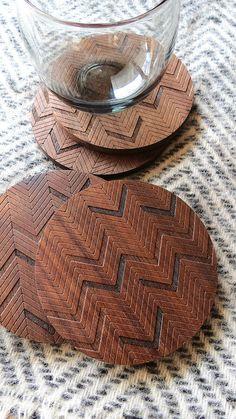 Wood Coasters - Engraved Wood Coasters - Herringbone - set of 4