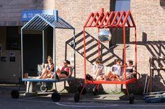 Mobile Architecture, Installation Architecture, Paris 14eme, Pocket Park, Pop Up Market, Moving Boxes, Exhibition Stand Design, Market Stalls, Roll Cage