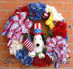 Snoopy And Woodstock Peanuts Patriotic Wreath, by Irish Girl's Wreaths