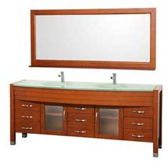 "78"" Daytona Double Bathroom Vanity Set - Cherry w/ Drawers #WyndhamCollection #HomeRemodel #BathroomRemodel #BlondyBathHome #BathroomVanity"