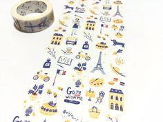 Enjoy France travelling washi tape 10M Travel planner tape Deux Faces, Washi Tapes, Travel Planner, Tour Eiffel, Planner Ideas, Travelling, France, Paper, Creative