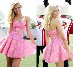 2016 Homecoming dress,Short prom Dress,hot pink lace Prom Dresses,Part – Princesssbride