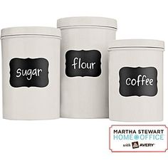 The #MarthaStewartHomeOffice #chalkboard #labels are an #affordable and easy way to update your #kitchen #organization.