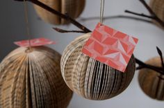 You can make these #ornaments using old #book pages or colorful #scrapbook paper.