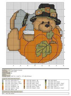 Schema punto croce Orso Zucca