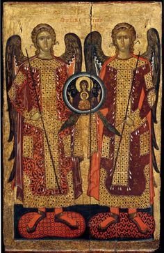 Full of Grace and Truth: Excerpt from the Homily on the Archangels Michael and Gabriel by St. Nikodemos of the Holy Mountain Byzantine Icons, Byzantine Art, Religious Icons, Religious Art, Gabriel, The Holy Mountain, Angel Images, Russian Icons, Best Icons