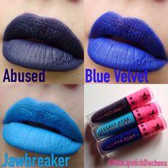 Jeffree STar - Abused, Blue Velvet and Jawbreaker Blue Lipstick, Velour Liquid Lipstick, Lipstick Swatches, Star Makeup, Lip Makeup, Lip Lacquer, Looks Black, Jeffree Star, Pure Beauty
