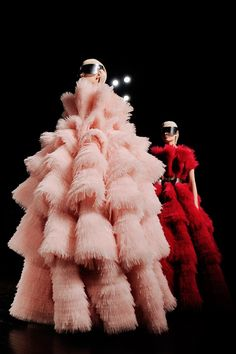 OMG OMG OMG: Two frothy creations at Alexander McQueen. Photo by Nina Westervelt/MCV Photo